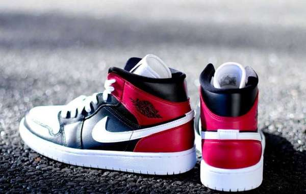 Nike Air Jordan 1 Mid Black/White-Noble Red BQ6472-016 Fast Shipping